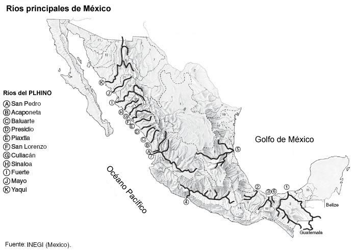 Mapa De Mexico Con Los Rios